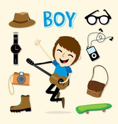 boy smart cartoon vector image
