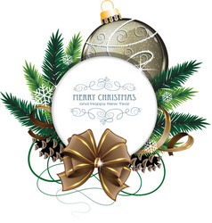 Christmas card with brown bauble vector image vector image