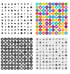 100 yoga icons set variant vector