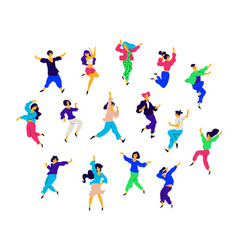 a group dancing people in different poses and vector image