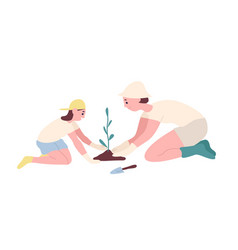 adorable mother and daughter planting seedling or vector image