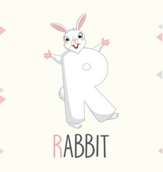 alphabet letter r and rabbit vector image