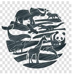 Animals icon pencil drawing vector