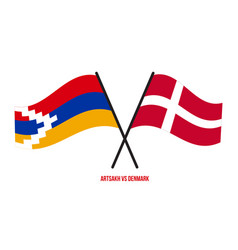 Artsakh and denmark flags crossed and waving flat vector