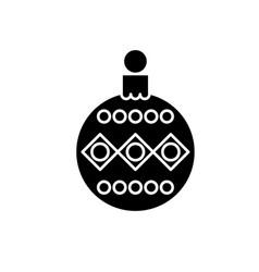 beautiful christmas ball black icon sign vector image