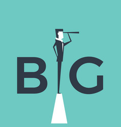 big deal concept with businessman and telescope vector image