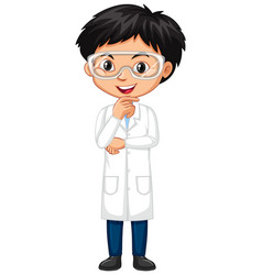 Boy wearing science gown on white background vector