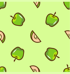 bright green apple seamless pattern vector image