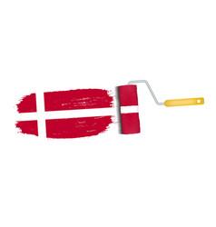 brush stroke with denmark national flag isolated vector image