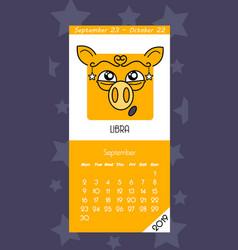 calendar for september 2019 vector image