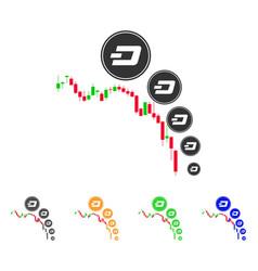 Candlestick chart dashcoin deflation icon vector