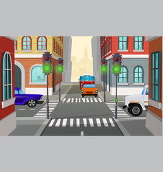 cartoon city crossroad with traffic lights vector image