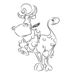 cartoon image of cow wearing christmas hat vector image