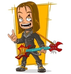 Cartoon long hair rocker in black leather jacket vector