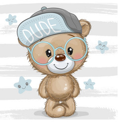 Cartoon teddy bear with a blue cap and glasses vector