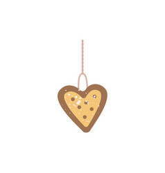 christmas cookie or biscuit in heart shape flat vector image