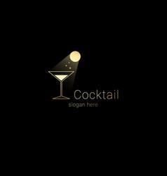 cocktail club night bar logo conceptmoon light vector image