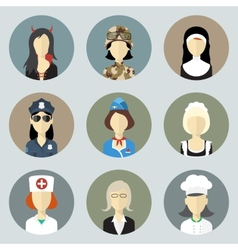 Colorful women in uniform circle icons set modern vector