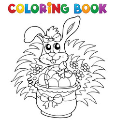 coloring book with easter theme 9 vector image