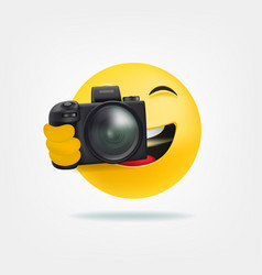 Cute character making foto 3d style funny vector