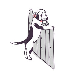 Cute dog trying to climb over fence and escape vector