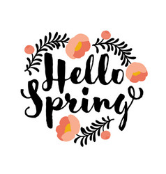 Cute hello spring lettering and coral peony flower vector