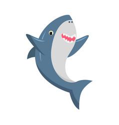 Cute smiling blue shark with sharp teeth vector