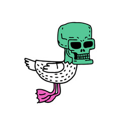 Dead duck drawing drake with skull cartoon style vector