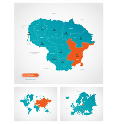 Editable template map lithuania with marks vector