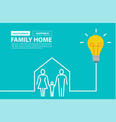 family home concept with creative light bulb idea vector image