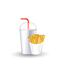 fast food set soda and french fries vector image