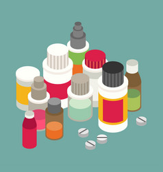 Flat 3d isometric pharmaceutics pharmacy drug web vector