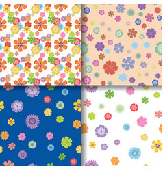 Floral patterns seamless background set vector