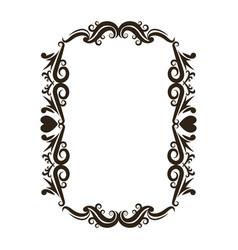 floral romantic heart ornament scrolls frame vector image