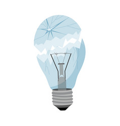 Garbage element broken light bulb vector