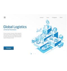 global logistics business people teamwork import vector image