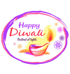 Happy diwali poster with white background and text vector