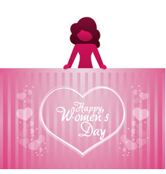 happy womens day girl heart lettering vector image