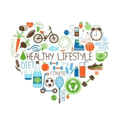 Healthy lifestyle diet and fitness heart sign vector