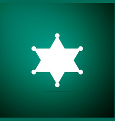 hexagram sheriff icon isolated on green background vector image