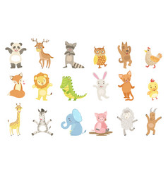 Humanized animals set artistic funny stickers vector