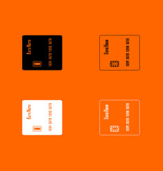 Inserting credit card black and white set icon vector