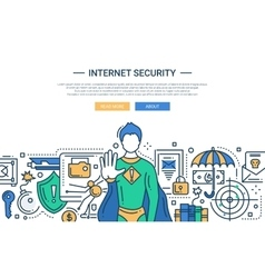 Internet Security - line design website banner vector image