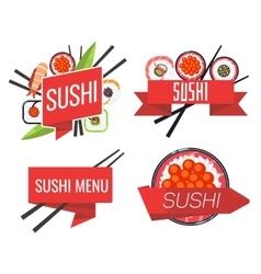 Japanese sushi bar or restaurant menu set vector image