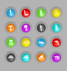 Joinery colored plastic round buttons icon set vector