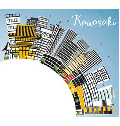 kawasaki japan city skyline with color buildings vector image