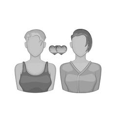 Lesbian couple icon black monochrome style vector