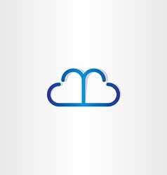 Line cloud heart shape icon vector