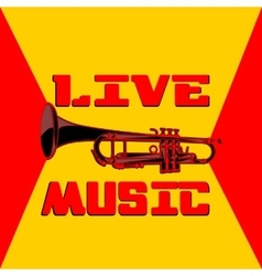 live music trumpet yellow and red vector image