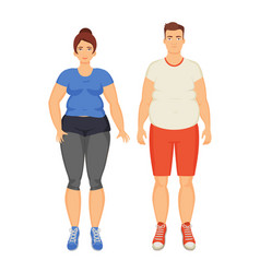 man and woman unhappy obesity vector image
